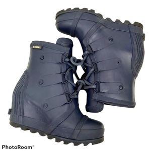 Sorel Navy Blue Joan Wedge Rain Rubber Boots sz 5